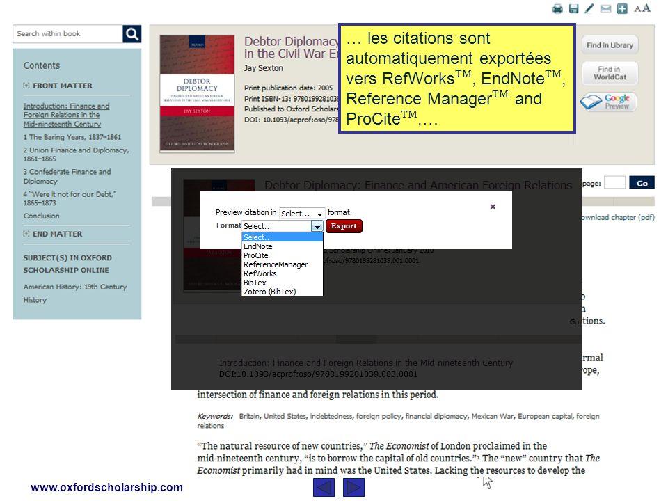 www.oxfordscholarship.com Différents résultats, provenant de toutes les presses à votre disponibilité, apparaissent.