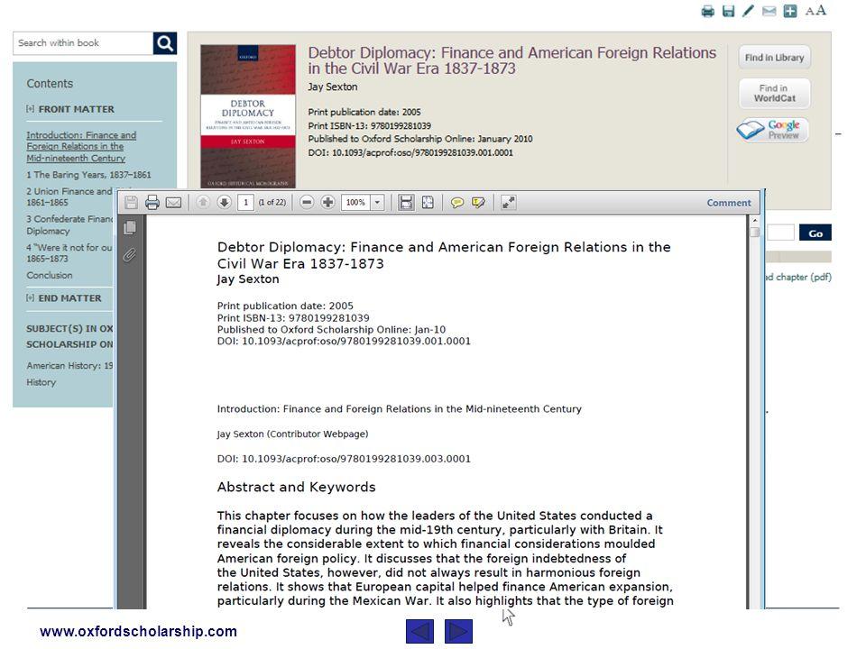 www.oxfordscholarship.com Les pages de contenu possèdent la même propriété qu « Oxford Scholarship Online »: Trouvez une table de matières complète avec des résumés de livres ainsi que des chapitres… … les citations sont automatiquement exportées vers RefWorks, EndNote, Reference Manager and ProCite,…