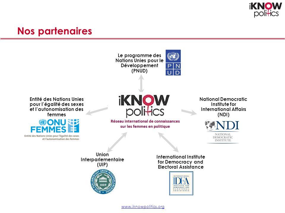 Nos partenaires www.iknowpolitics.org Le programme des Nations Unies pour le Développement (PNUD) Entité des Nations Unies pour légalité des sexes et