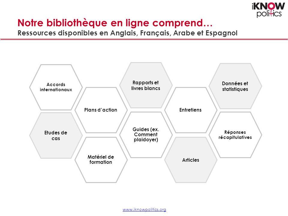 Notre bibliothèque en ligne comprend… Ressources disponibles en Anglais, Français, Arabe et Espagnol Matériel de formation Etudes de cas Guides (ex.