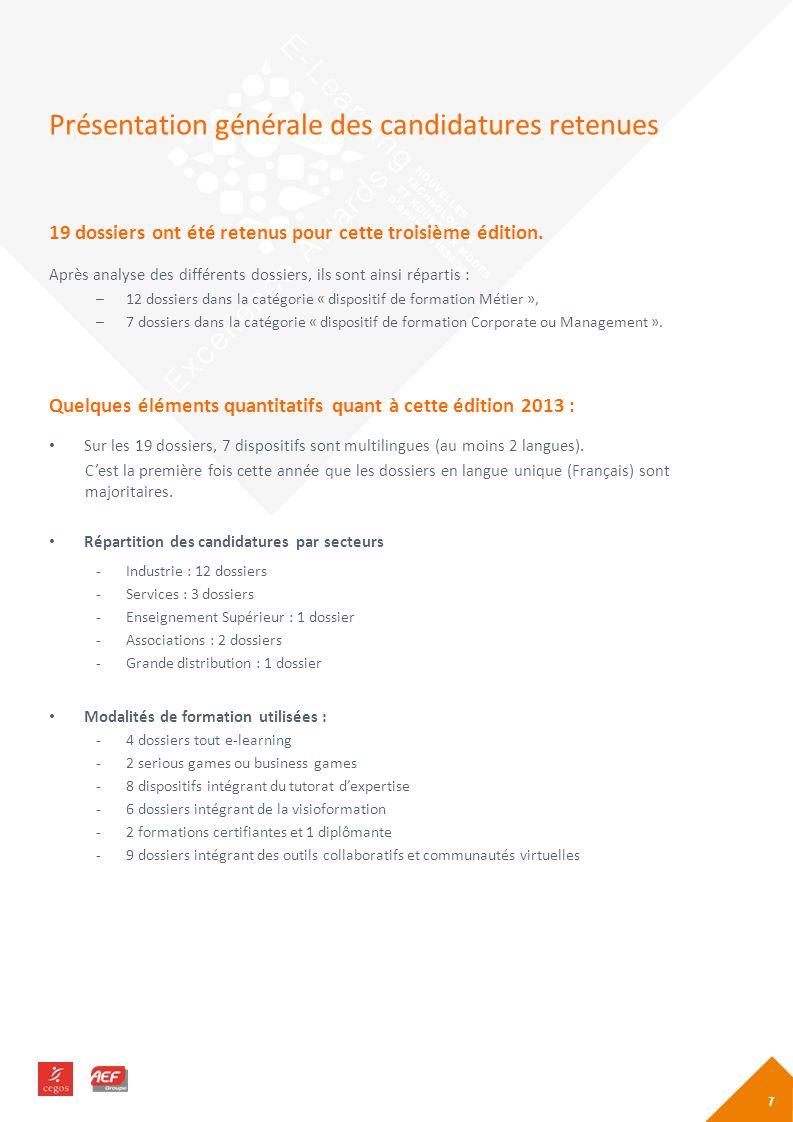 Présentation générale des candidatures retenues 19 dossiers ont été retenus pour cette troisième édition.