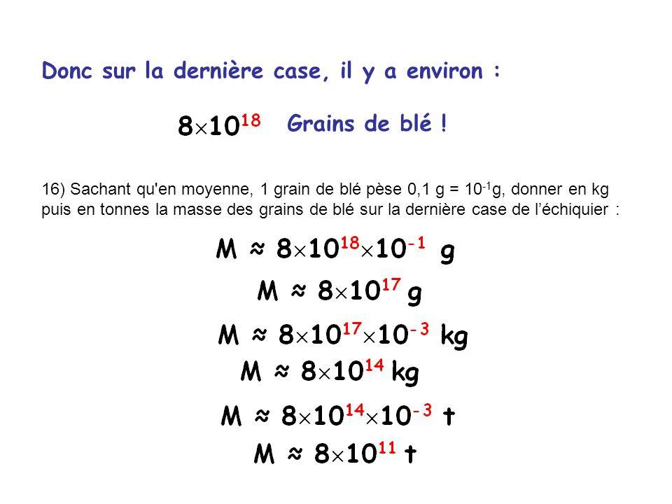 Donc sur la dernière case, il y a environ : Grains de blé ! 16) Sachant qu'en moyenne, 1 grain de blé pèse 0,1 g = 10 -1 g, donner en kg puis en tonne