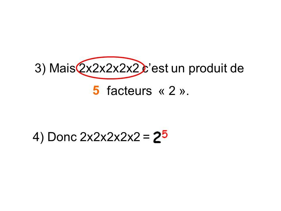 3) Mais 2x2x2x2x2 cest un produit de facteurs « 2 ». 5 4) Donc 2x2x2x2x2 =