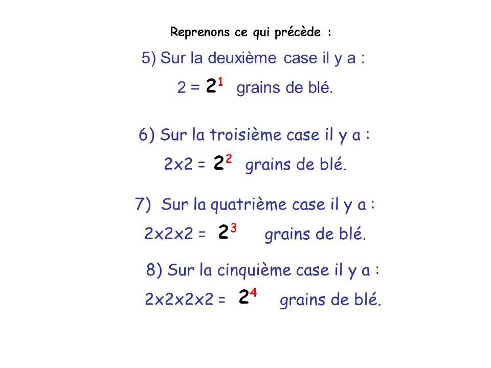 Reprenons ce qui précède : 5) Sur la deuxième case il y a : 2 = grains de blé. 6) Sur la troisième case il y a : 2x2 = grains de blé. 7) Sur la quatri