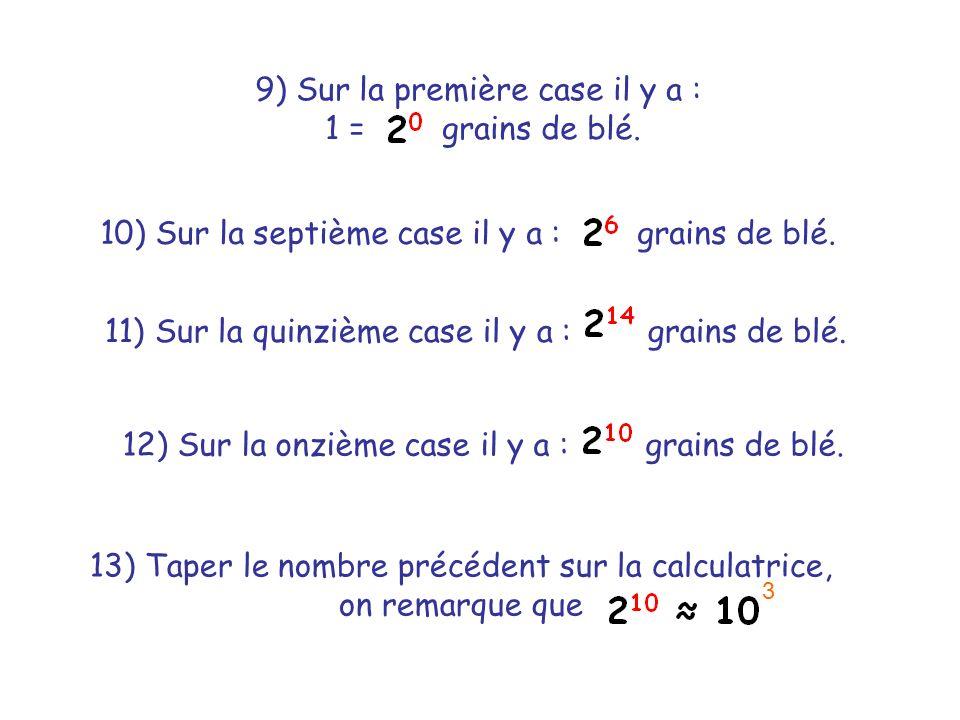 9) Sur la première case il y a : 1 = grains de blé. 10) Sur la septième case il y a : grains de blé. 11) Sur la quinzième case il y a : grains de blé.