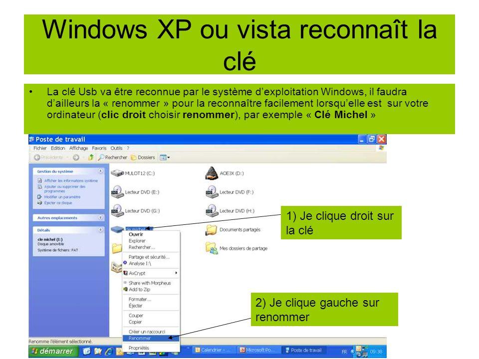 Windows XP ou vista reconnaît la clé La clé Usb va être reconnue par le système dexploitation Windows, il faudra dailleurs la « renommer » pour la rec