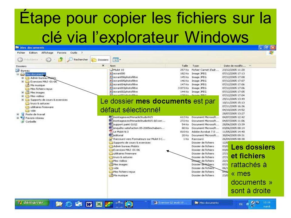 Étape pour copier les fichiers sur la clé via lexplorateur Windows Le dossier mes documents est par défaut sélectionné! Les dossiers et fichiers ratta