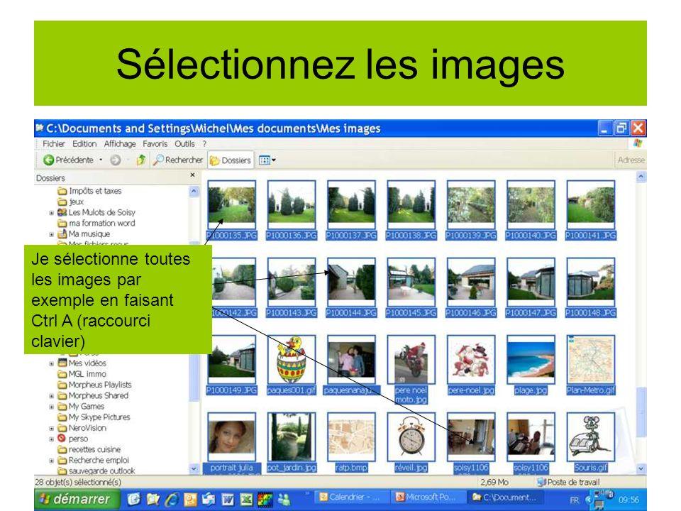 Je les transfère sur la clé 1)Clic droit souris sur une des photos sélectionnée 2) Clic gauche sur envoyer vers 3) Clic gauche sur ma clé Usb