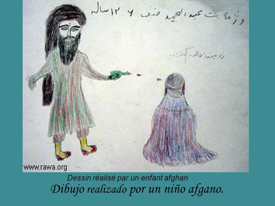 Dibujo realizado por un niño afgano. Dessin réalisé par un enfant afghan