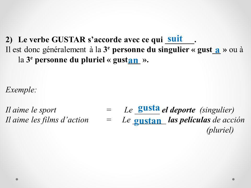 2)Le verbe GUSTAR saccorde avec ce qui _______. Il est donc généralement à la 3 e personne du singulier « gust__ » ou à la 3 e personne du pluriel « g