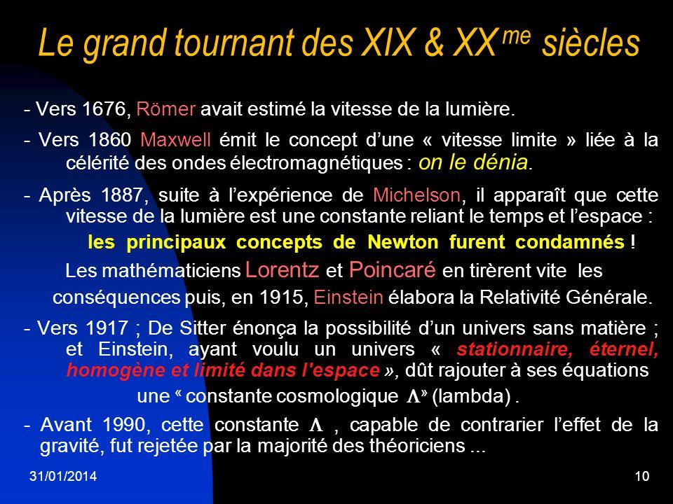 31/01/201410 Le grand tournant des XIX & XX me siècles - Vers 1676, Römer avait estimé la vitesse de la lumière. - Vers 1860 Maxwell émit le concept d