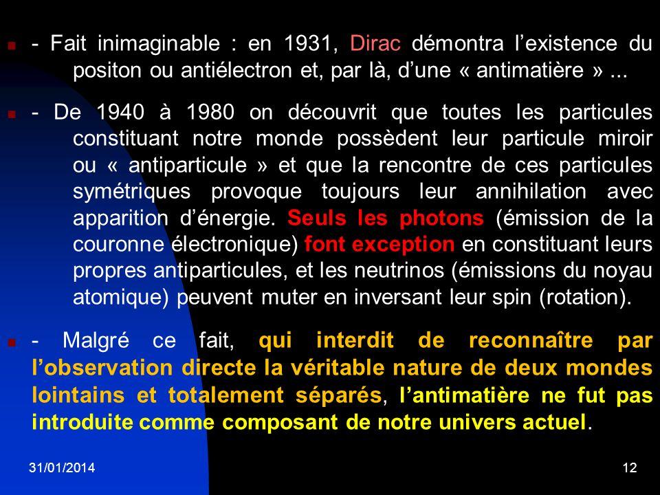31/01/201412 - Fait inimaginable : en 1931, Dirac démontra lexistence du positon ou antiélectron et, par là, dune « antimatière »... - De 1940 à 1980