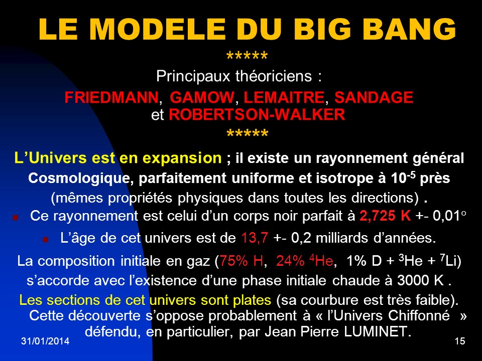 31/01/201415 LE MODELE DU BIG BANG ***** Principaux théoriciens : FRIEDMANN, GAMOW, LEMAITRE, SANDAGE et ROBERTSON-WALKER ***** LUnivers est en expans