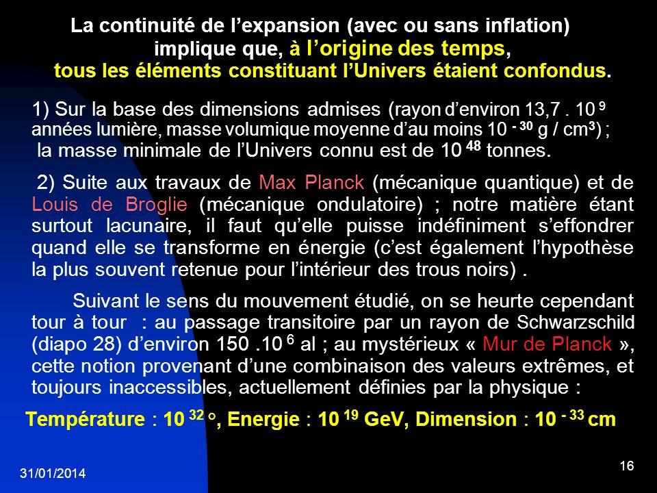 31/01/2014 16 La continuité de lexpansion (avec ou sans inflation) implique que, à lorigine des temps, tous les éléments constituant lUnivers étaient