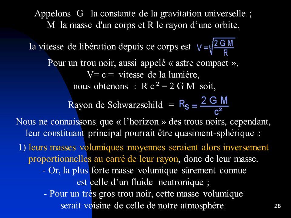 28 Appelons G la constante de la gravitation universelle ; M la masse d'un corps et R le rayon dune orbite, la vitesse de libération depuis ce corps e