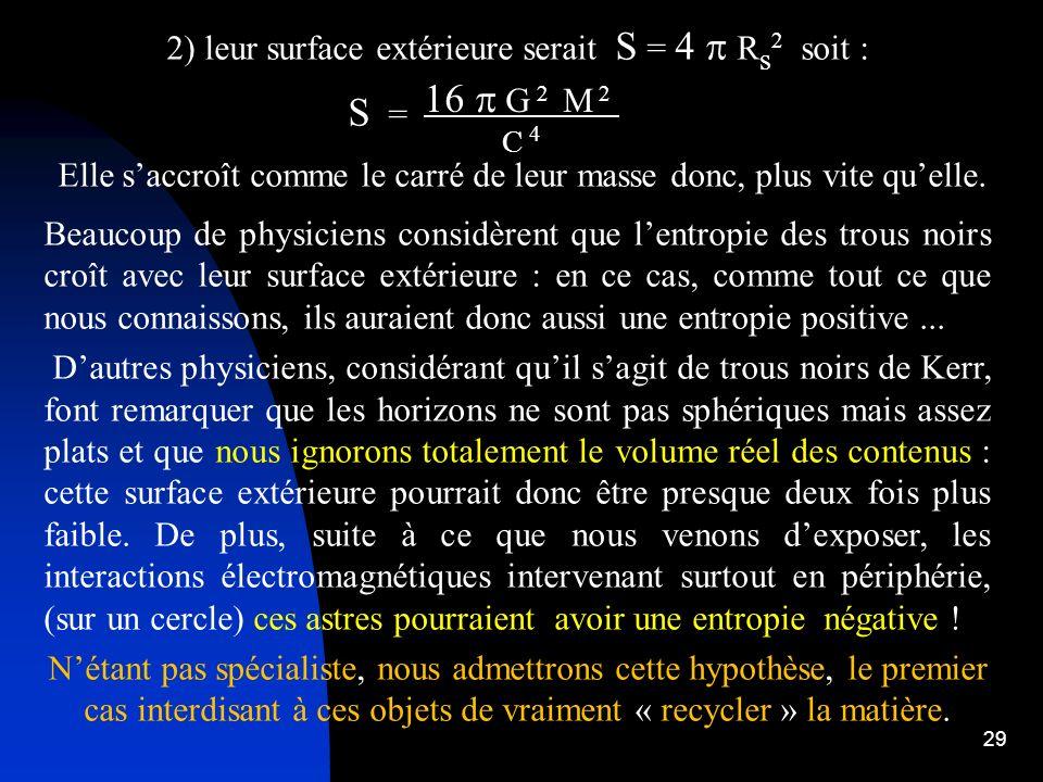 29 2) leur surface extérieure serait S = 4 R s 2 soit : S = Elle saccroît comme le carré de leur masse donc, plus vite quelle. Beaucoup de physiciens