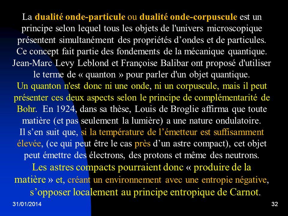 31/01/201432 La dualité onde-particule ou dualité onde-corpuscule est un principe selon lequel tous les objets de l'univers microscopique présentent s