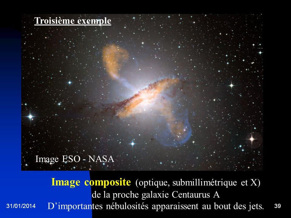 31/01/201439 Image composite (optique, submillimétrique et X) de la proche galaxie Centaurus A Dimportantes nébulosités apparaissent au bout des jets.