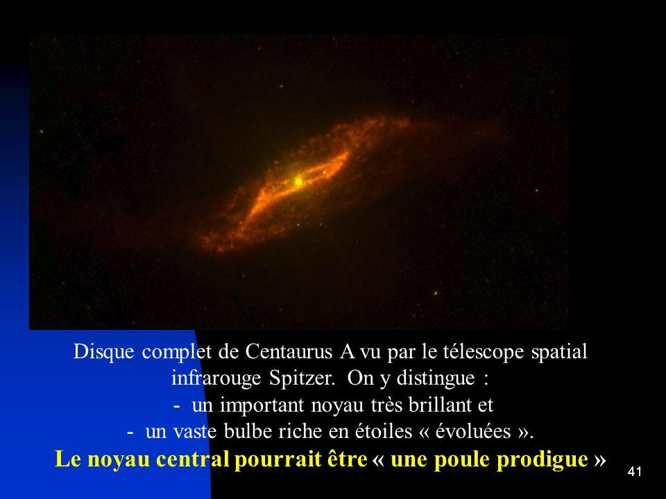 41 Disque complet de Centaurus A vu par le télescope spatial infrarouge Spitzer. On y distingue : - un important noyau très brillant et - un vaste bul