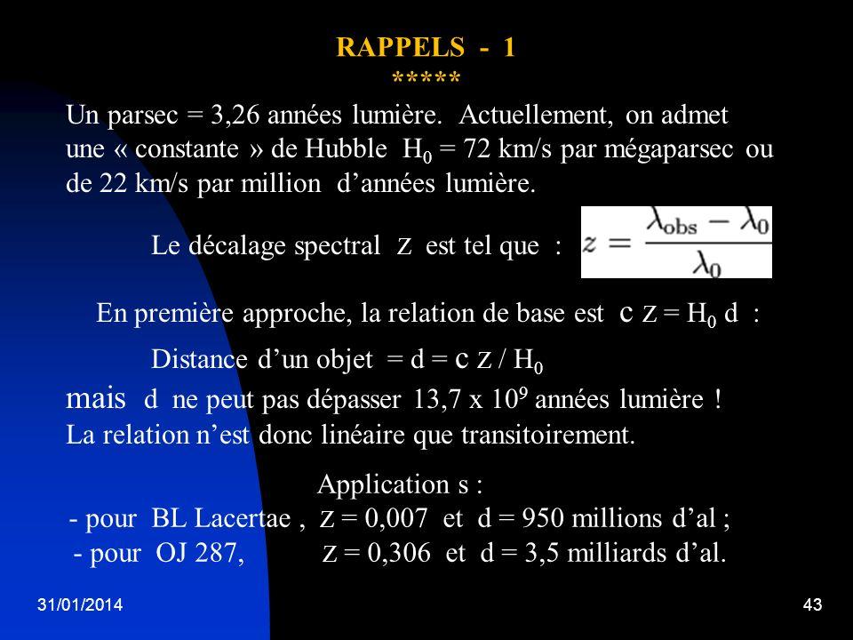 31/01/201443 Application s : - pour BL Lacertae, Z = 0,007 et d = 950 millions dal ; - pour OJ 287, Z = 0,306 et d = 3,5 milliards dal. RAPPELS - 1 **