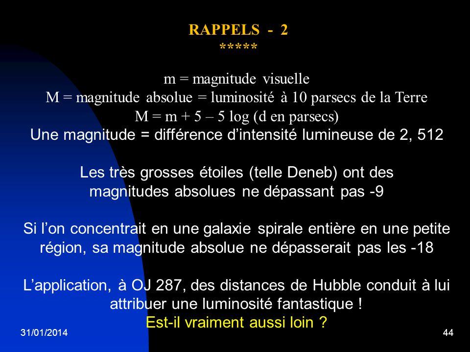 31/01/201444 m = magnitude visuelle M = magnitude absolue = luminosité à 10 parsecs de la Terre M = m + 5 – 5 log (d en parsecs) Une magnitude = diffé