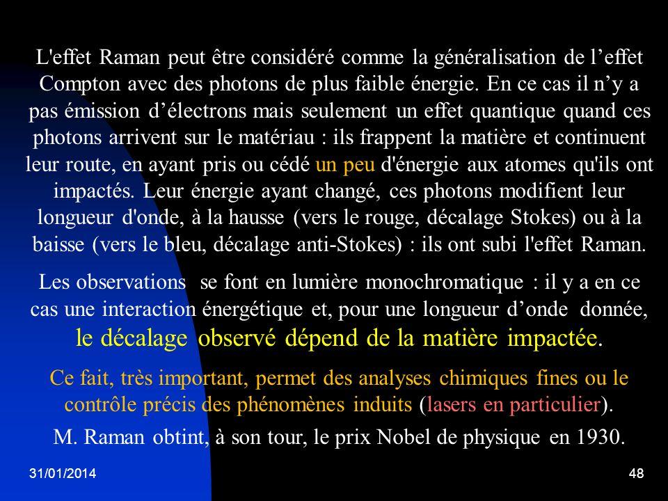 31/01/201448 L'effet Raman peut être considéré comme la généralisation de leffet Compton avec des photons de plus faible énergie. En ce cas il ny a pa