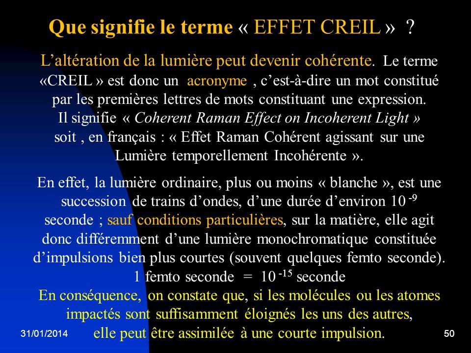 31/01/201450 Laltération de la lumière peut devenir cohérente. Le terme «CREIL » est donc un acronyme, cest-à-dire un mot constitué par les premières