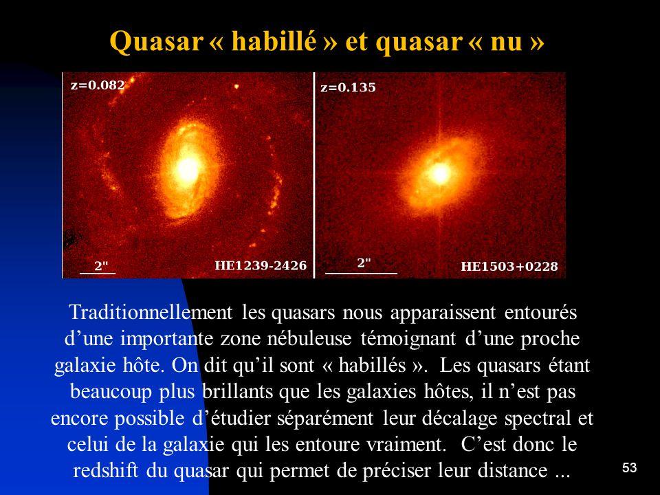 53 Quasar « habillé » et quasar « nu » Traditionnellement les quasars nous apparaissent entourés dune importante zone nébuleuse témoignant dune proche