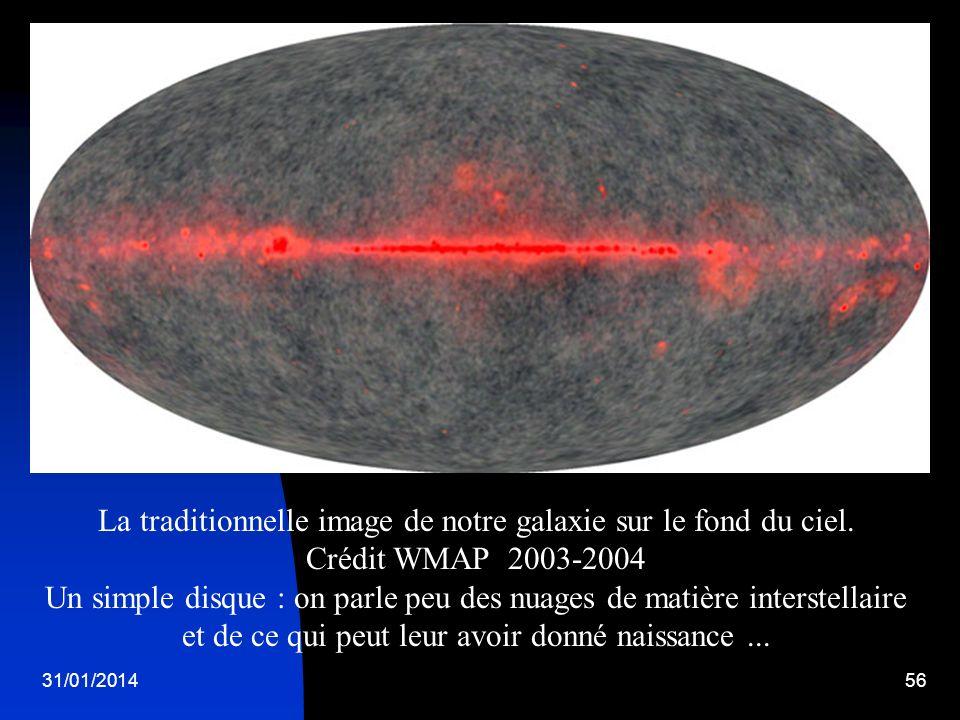 31/01/201456 La traditionnelle image de notre galaxie sur le fond du ciel. Crédit WMAP 2003-2004 Un simple disque : on parle peu des nuages de matière