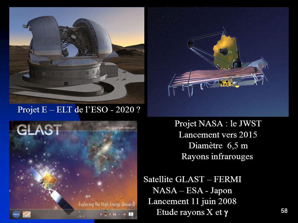 58 Projet E – ELT de lESO - 2020 ? Projet NASA : le JWST Lancement vers 2015 Diamètre 6,5 m Rayons infrarouges Satellite GLAST – FERMI NASA – ESA - Ja