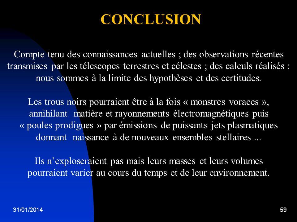 31/01/201459 CONCLUSION Compte tenu des connaissances actuelles ; des observations récentes transmises par les télescopes terrestres et célestes ; des