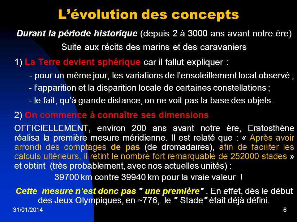 6 Lévolution des concepts Durant la période historique (depuis 2 à 3000 ans avant notre ère) Suite aux récits des marins et des caravaniers 1) La Terr