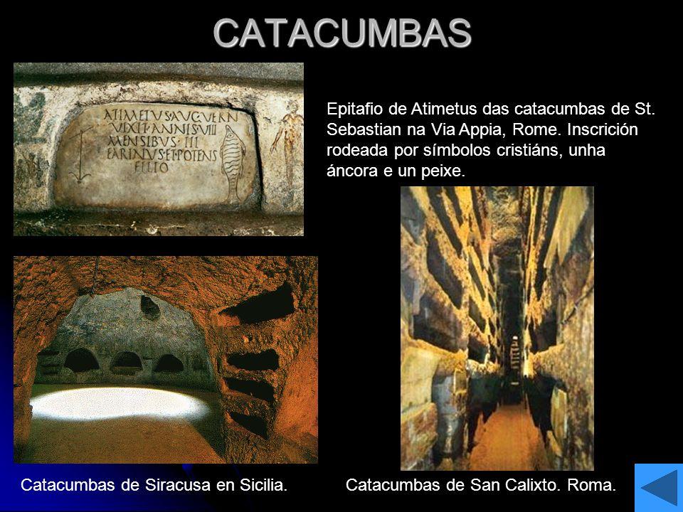 CATACUMBAS Epitafio de Atimetus das catacumbas de St. Sebastian na Via Appia, Rome. Inscrición rodeada por símbolos cristiáns, unha áncora e un peixe.