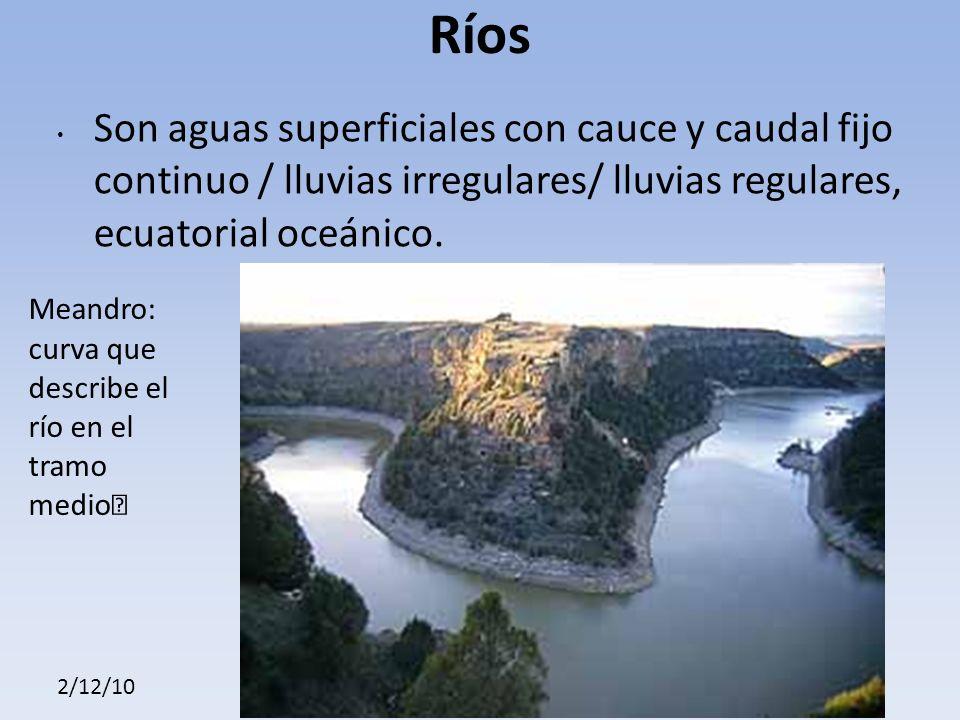 2/12/10 Ríos Son aguas superficiales con cauce y caudal fijo continuo / lluvias irregulares/ lluvias regulares, ecuatorial oceánico.
