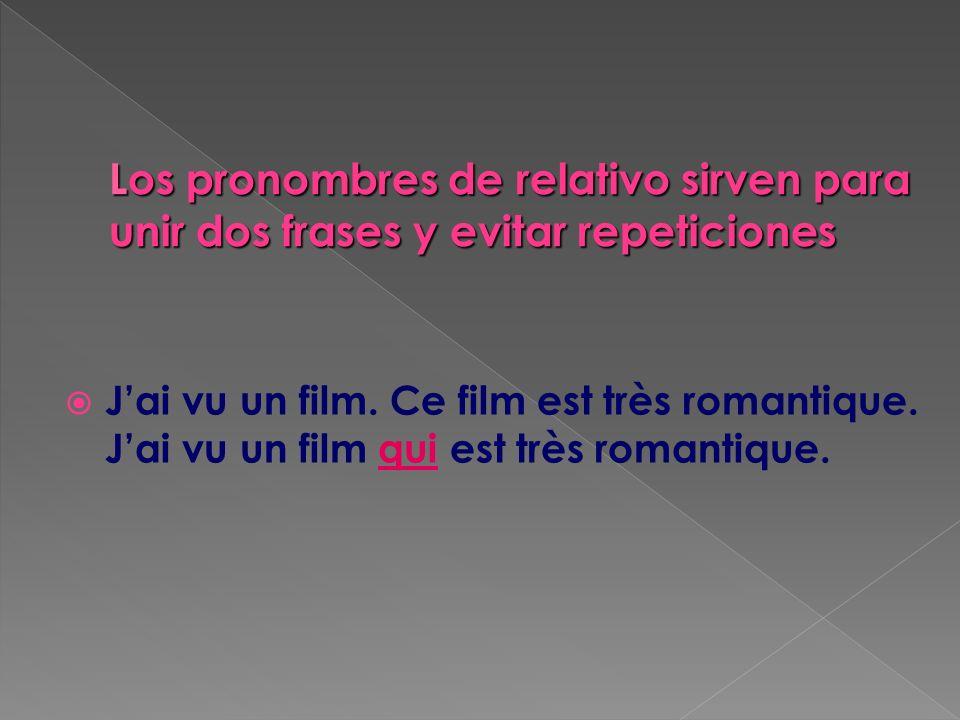 Jai vu un film. Ce film est très romantique. Jai vu un film qui est très romantique.