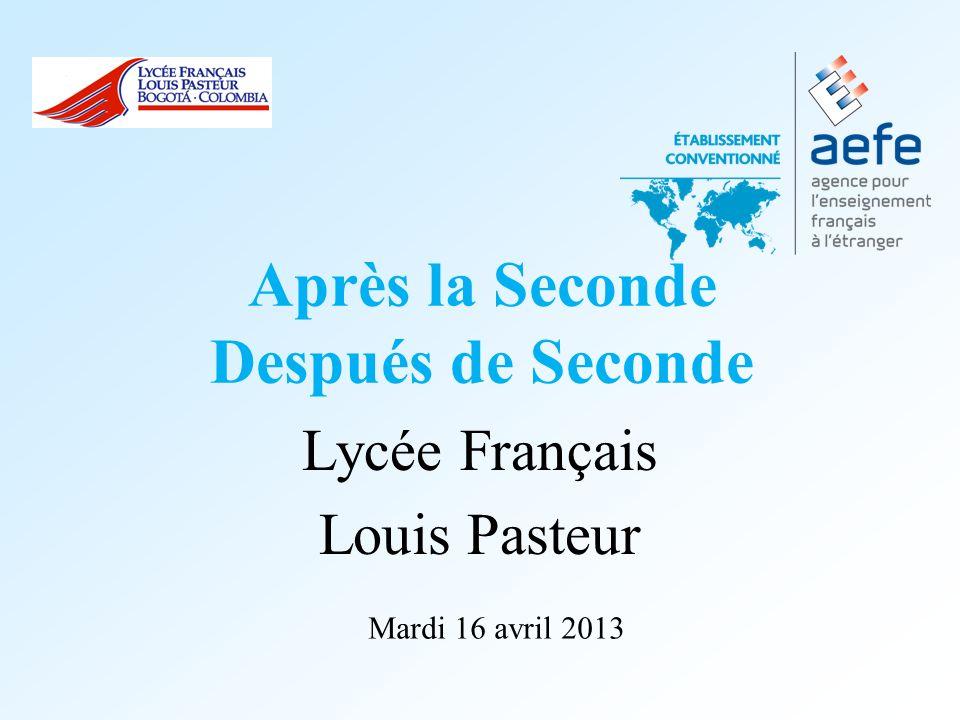 Après la Seconde Después de Seconde Lycée Français Louis Pasteur Mardi 16 avril 2013