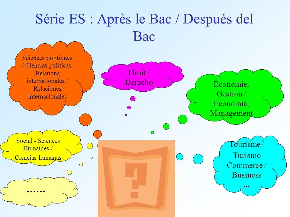 Série ES : Après le Bac / Después del Bac Droit / Derecho Social - Sciences Humaines / Ciencias humanas Tourisme / Turismo Commerce / Business... Scie