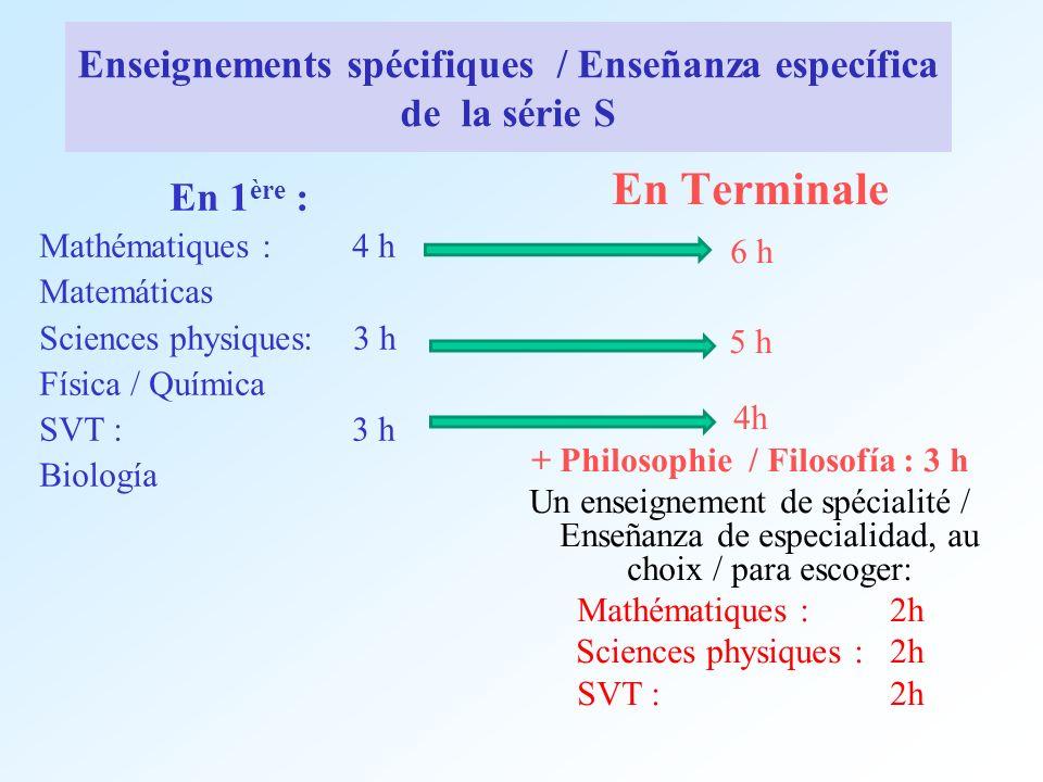 Enseignements spécifiques / Enseñanza específica de la série S En 1 ère : Mathématiques : 4 h Matemáticas Sciences physiques: 3 h Física / Química SVT