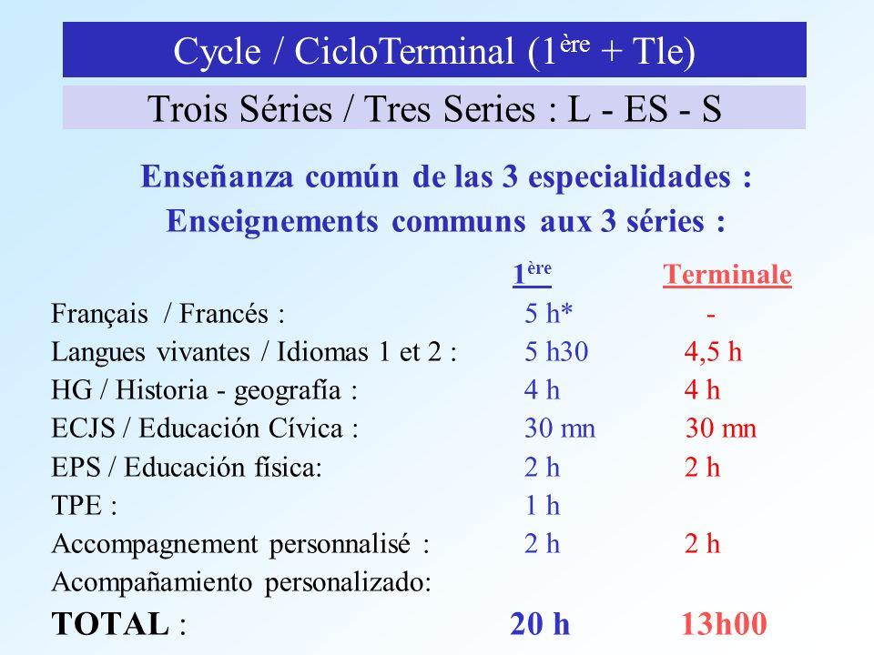 Trois Séries / Tres Series : L - ES - S Enseñanza común de las 3 especialidades : Enseignements communs aux 3 séries : 1 ère Terminale Français / Fran