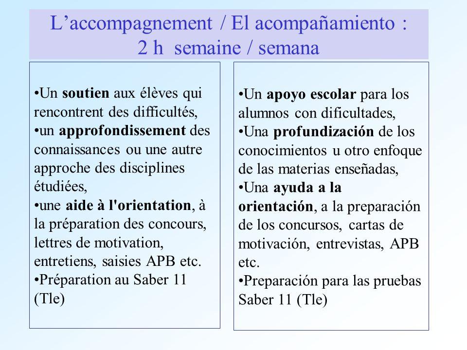 Laccompagnement / El acompañamiento : 2 h semaine / semana Un soutien aux élèves qui rencontrent des difficultés, un approfondissement des connaissanc