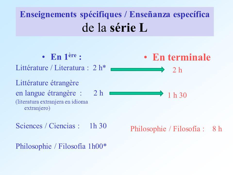 Enseignements spécifiques / Enseñanza específica de la série L En 1 ère : Littérature / Literatura : 2 h* Littérature étrangère en langue étrangère :