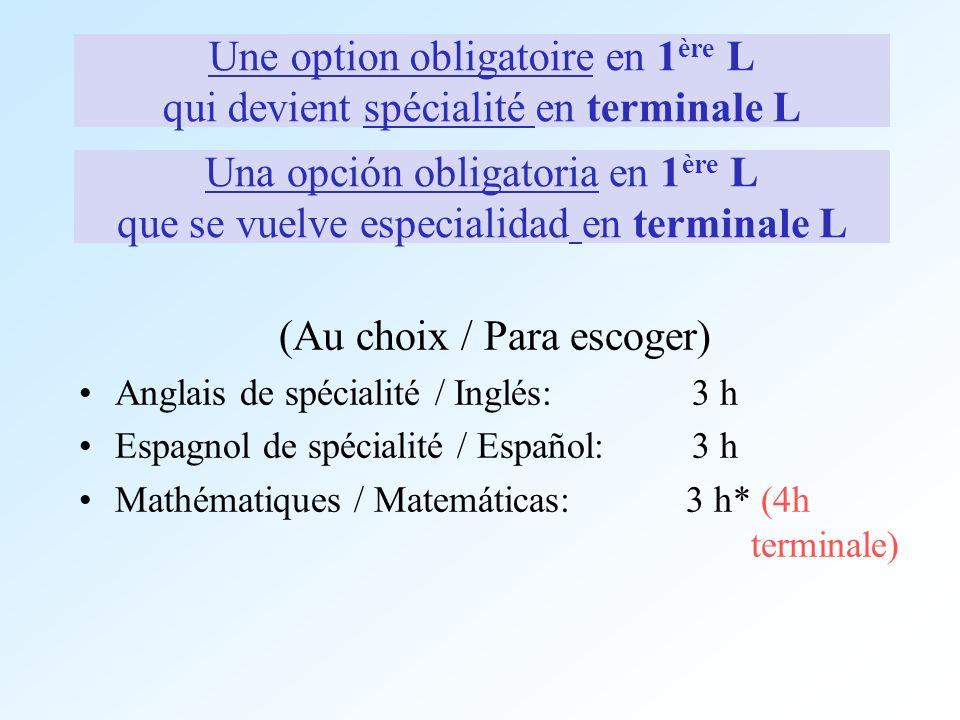 Une option obligatoire en 1 ère L qui devient spécialité en terminale L (Au choix / Para escoger) Anglais de spécialité / Inglés: 3 h Espagnol de spéc