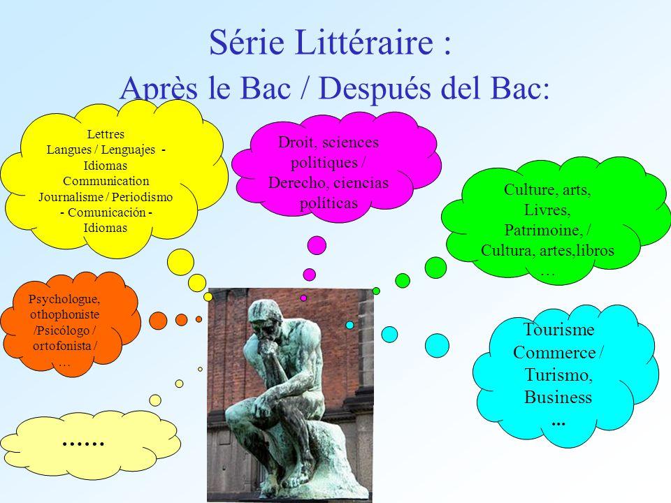 Série Littéraire : Après le Bac / Después del Bac: Droit, sciences politiques / Derecho, ciencias políticas Lettres Langues / Lenguajes - Idiomas Comm