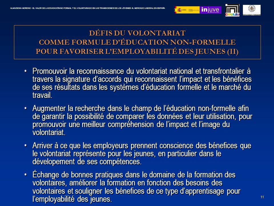 DÉFIS DU VOLONTARIAT COMME FORMULE DÉDUCATION NON-FORMELLE POUR FAVORISER LEMPLOYABILITÉ DES JEUNES (II) Promouvoir la reconnaissance du volontariat n