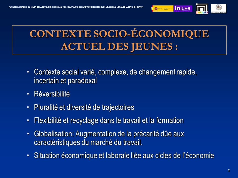 CONTEXTE SOCIO-ÉCONOMIQUE ACTUEL DES JEUNES : Contexte social varié, complexe, de changement rapide, incertain et paradoxalContexte social varié, comp