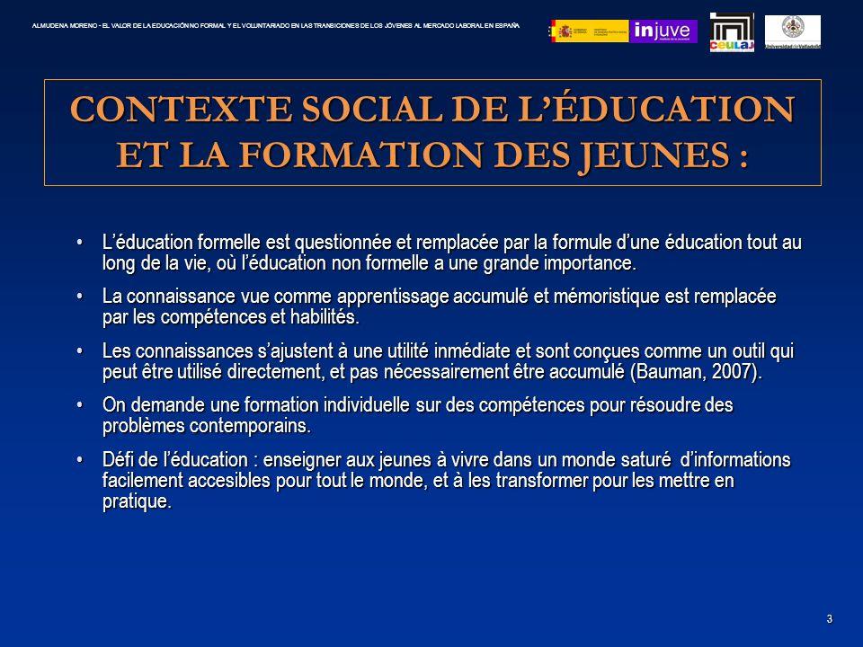 CONTEXTE SOCIAL DE LÉDUCATION ET LA FORMATION DES JEUNES : Léducation formelle est questionnée et remplacée par la formule dune éducation tout au long