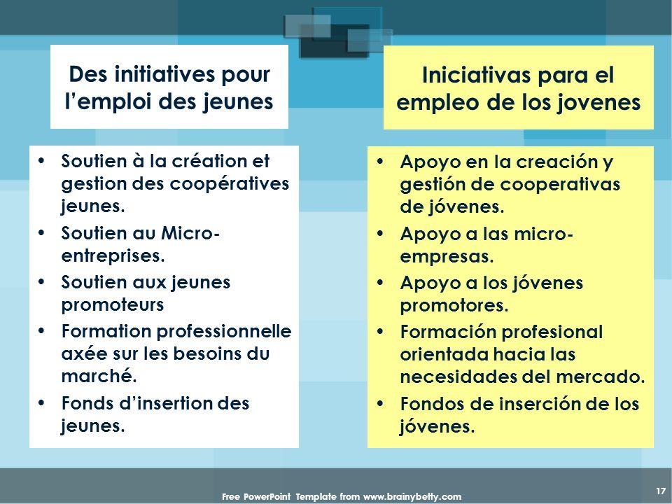 Free PowerPoint Template from www.brainybetty.com 17 Des initiatives pour lemploi des jeunes Soutien à la création et gestion des coopératives jeunes.