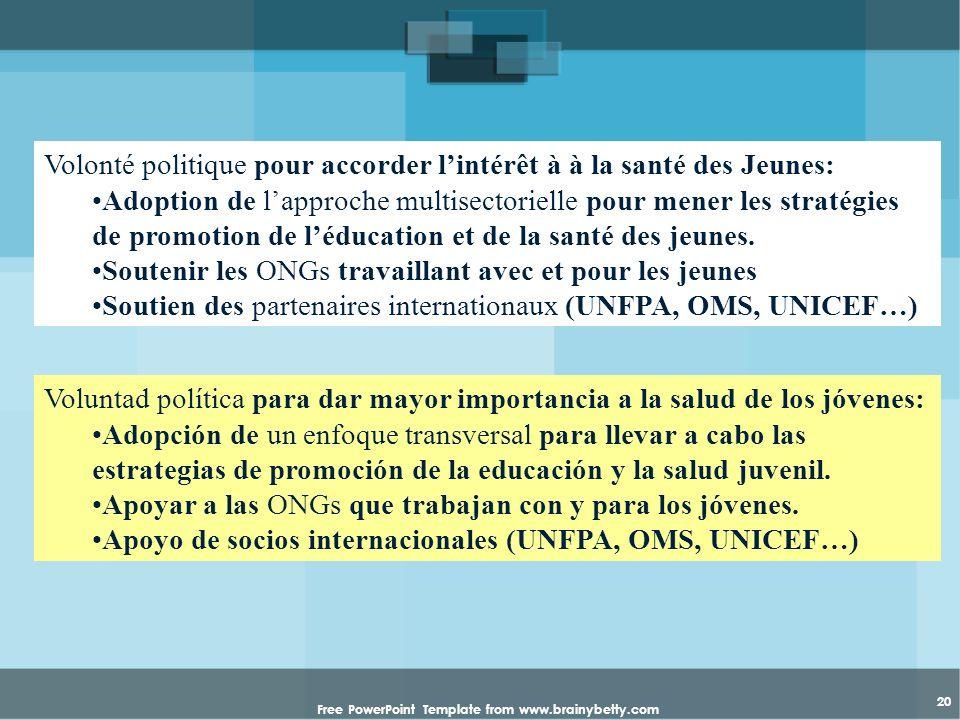 Free PowerPoint Template from www.brainybetty.com 20 Volonté politique pour accorder lintérêt à à la santé des Jeunes: Adoption de lapproche multisect