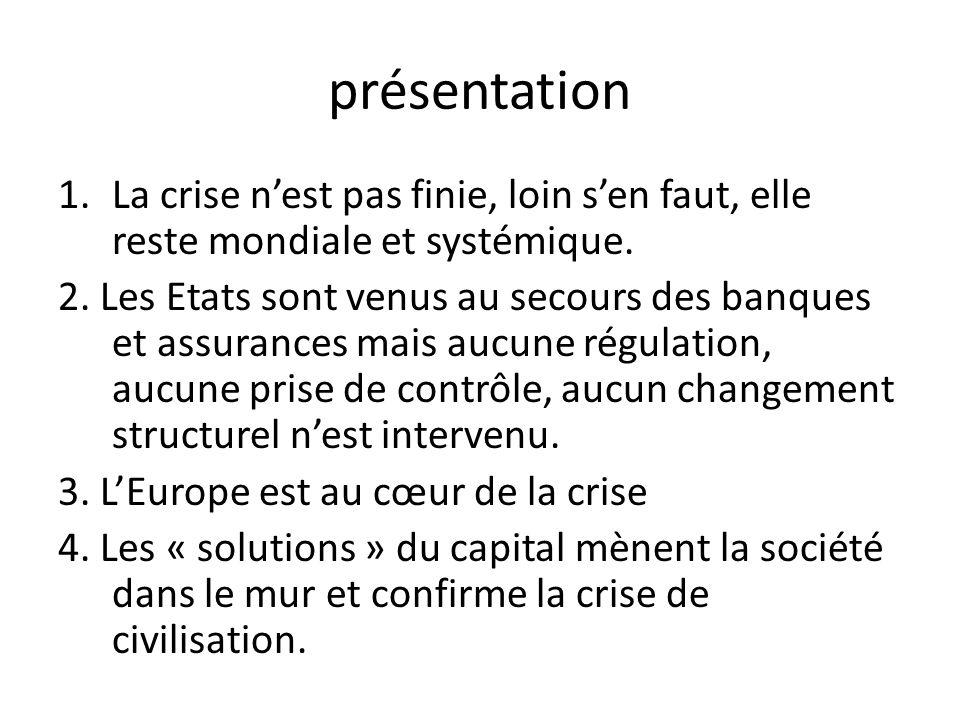 présentation 1.La crise nest pas finie, loin sen faut, elle reste mondiale et systémique.
