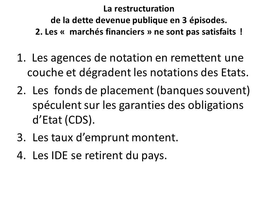 La restructuration de la dette devenue publique en 3 épisodes.